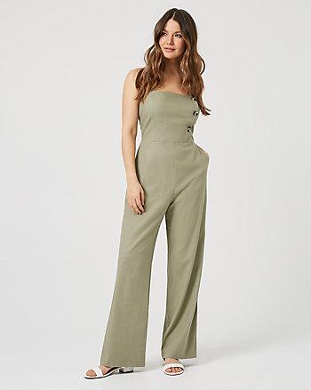 Linen Blend Wide Leg Jumpsuit