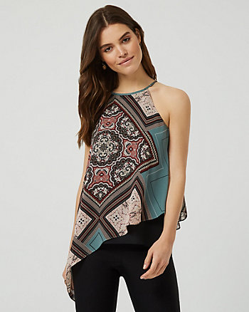 Ornamental Print Asymmetrical Halter Blouse