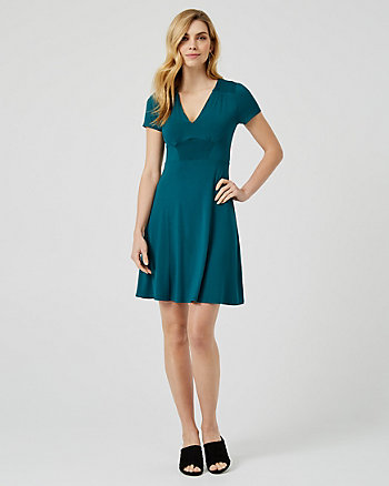 Jersey Knit V-Neck Dress