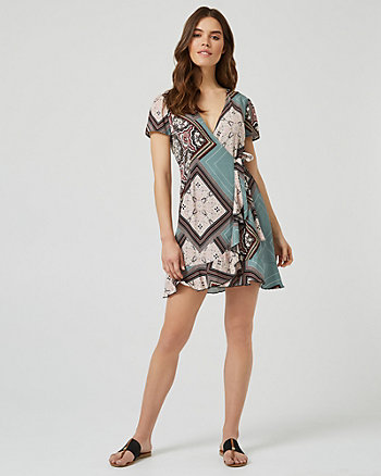 Ornamental Print Wrap-Like Ruffle Dress