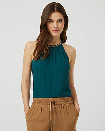 Beaded Sleeveless Halter Blouse