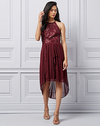 Embroidered Lace V-Neck High-Low Dress