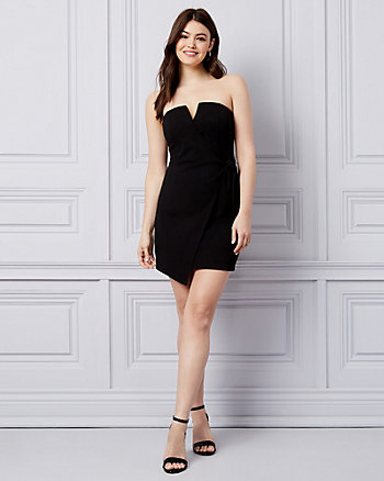 Scuba Knit Strapless Wrap-Like Dress