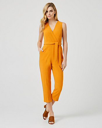 Textured Crêpe Slim Leg Jumpsuit