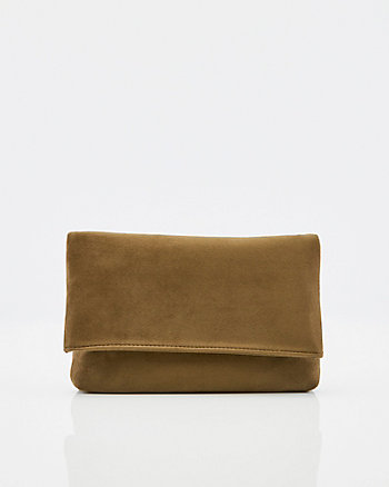 Suede-Like Flapover Clutch