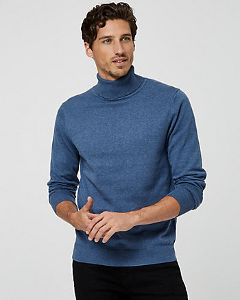 Tonal Cotton Turtleneck Sweater