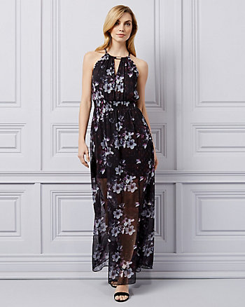Floral Print Chiffon Halter Gown