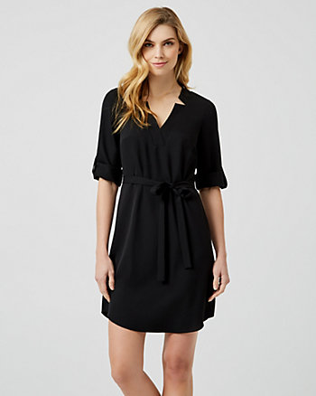 Crêpe de Chine V-Neck Tunic Dress