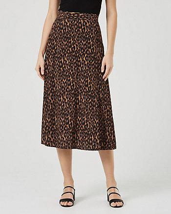 Leopard Print Challis Flared Midi Skirt