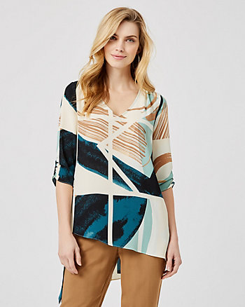 Abstract Print Asymmetrical Tunic Blouse