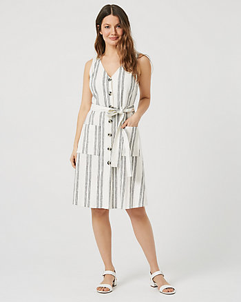 Stripe Linen Blend Button-Front Dress
