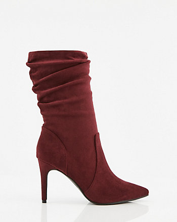 Faux Suede Pointy Toe Ruched Boot