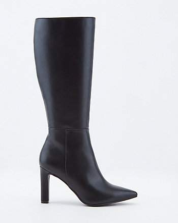 Faux Leather Knee-High Pointy Toe Boot