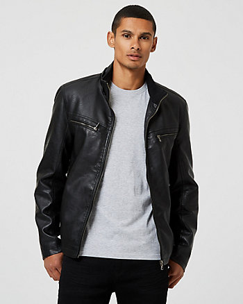 Faux Leather Hooded Bomber Jacket