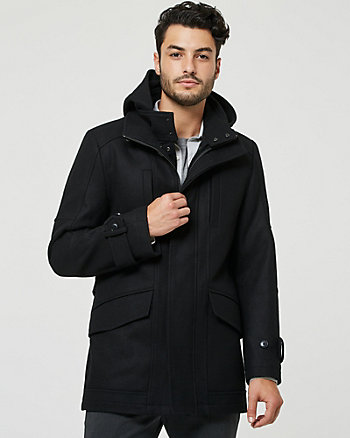 Hooded Melton Wool Blend Slim Fit Car Coat