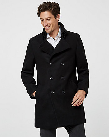 Melton Wool Blend Double Breasted Top Coat
