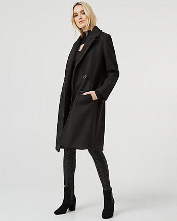 Stretch Melton Knit Double Breasted Coat