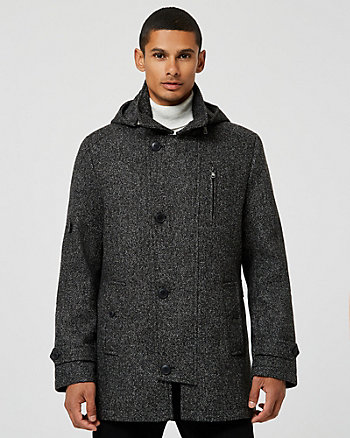 Bouclé Hooded Car Coat