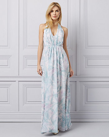 Floral Print Chiffon Halter Neck Gown