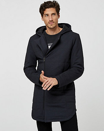 Ponte Knit Hooded Parka Coat