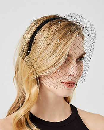 Gem Embellished Mesh Blusher Headband