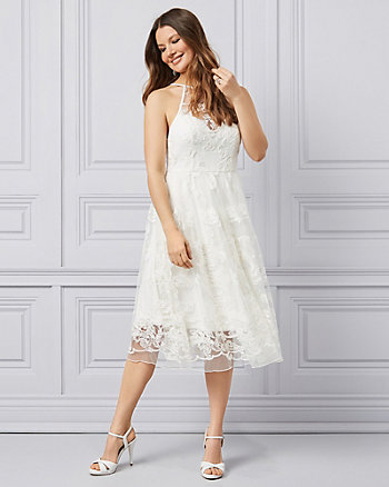 Embroidered Tulle Illusion Neckline Dress