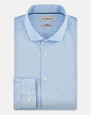 Dot Cotton Blend Tailored Fit Shirt