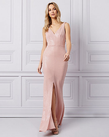 Metallic Knit & Sequin V-Neck Gown