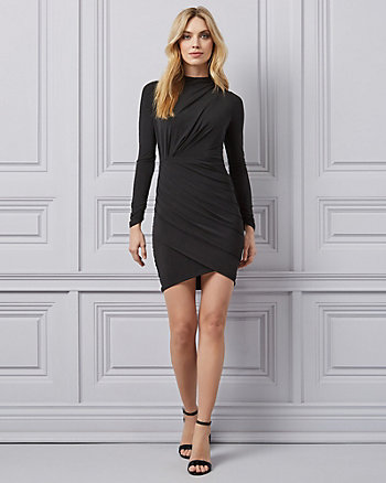 Ruched Mock Neck Mini Dress