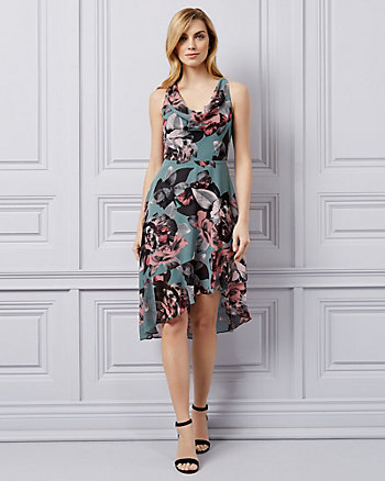 Floral Print Chiffon Cowl Neck Dress