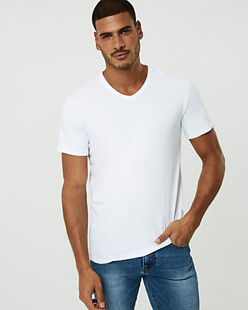 Stretch Cotton V-Neck T-Shirt
