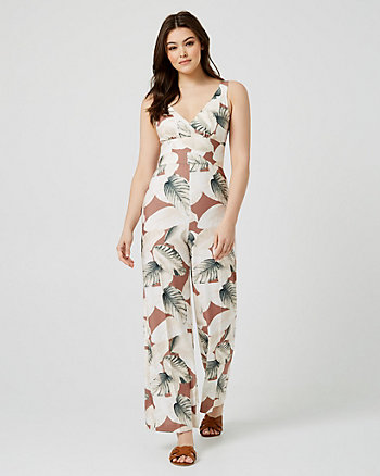 Tropical Print Crêpe Wide Leg Jumpsuit