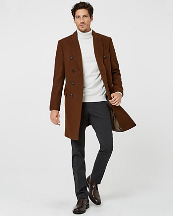 Melton Wool Notch Collar Top Coat
