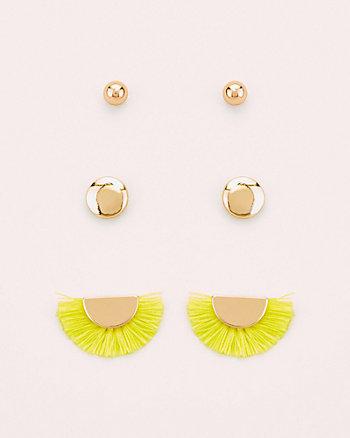 Set of Three Stud Earrings