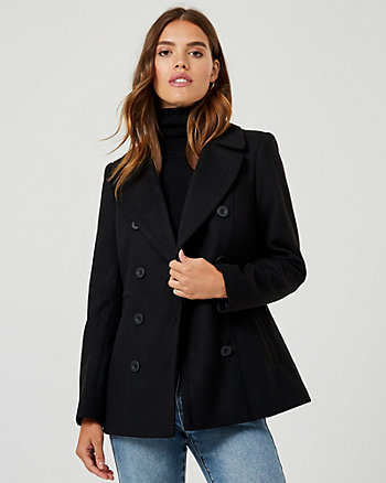 Cashmere-like Notch Collar Peacoat