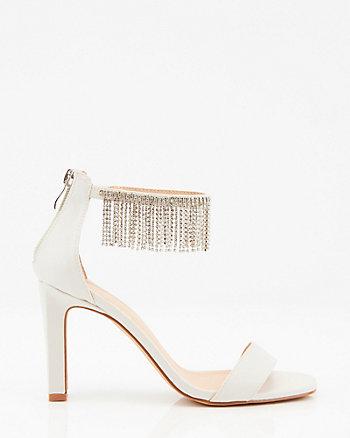 Jewel & Satin Fringe Ankle Strap Sandal