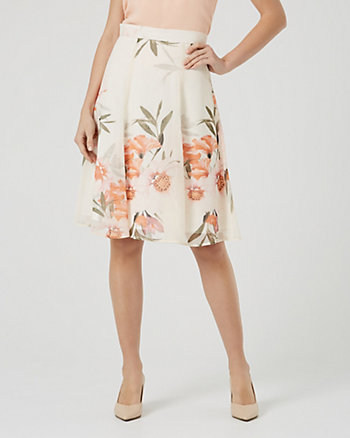 Floral Print Chiffon Flared A-Line Skirt