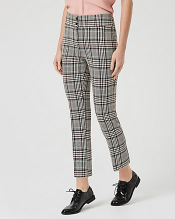 Check Print Viscose Blend Slim Trouser
