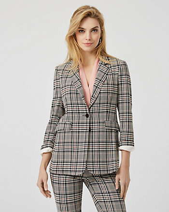 Check Print Viscose Blend Tailored Blazer