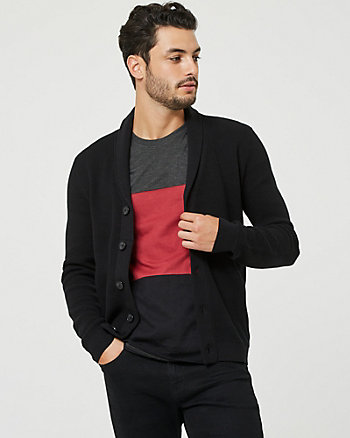 Cotton Shawl Collar Button-Front Cardigan