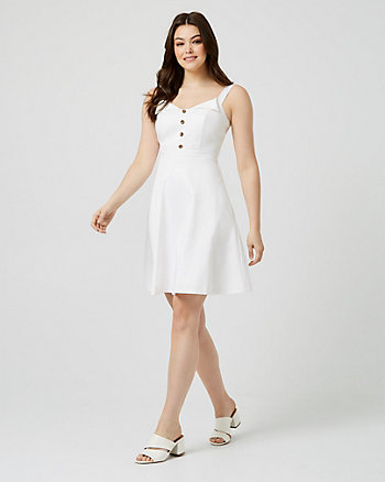 Cotton Sateen Fit & Flare Midi Dress