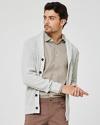 Cardigan à boutonnage et col châle en coton