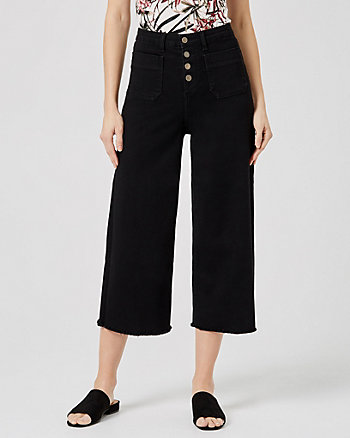 Frayed Denim Culotte Pant