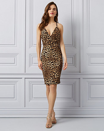Leopard Print Lace & Knit V-Neck Dress