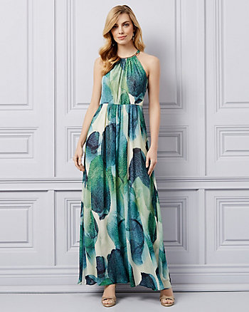 Abstract Print Chiffon Halter Gown