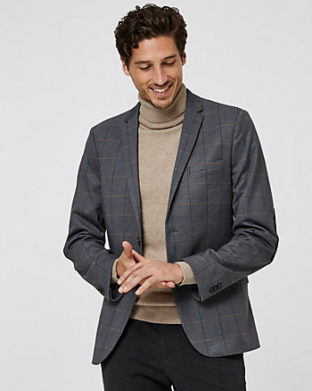 Check Print Knit Slim Fit Blazer