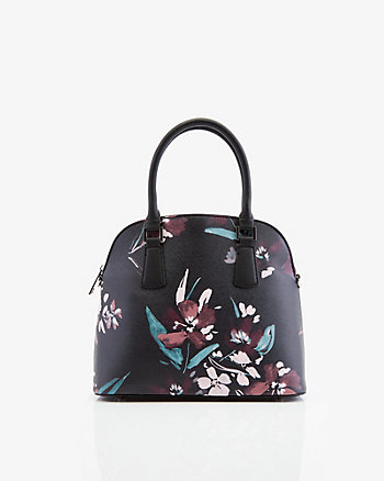 Floral Print Faux Leather Satchel