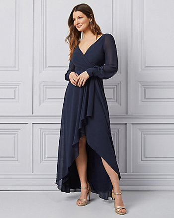 Chiffon V-Neck Wrap-Like Gown