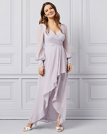 Chiffon V-Neck Wrap-Like Dress