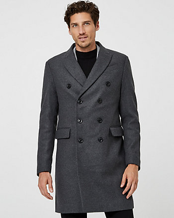 Melton Wool Blend Notch Collar Topcoat